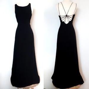 Vintage 90s Black Gown Spiderweb Back